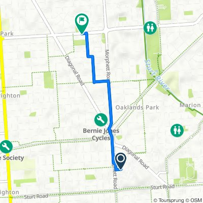 Route to 135 Oaklands Road, Warradale