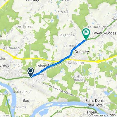De Avenue de Pont-aux-Moines, Mardié à Route de Donnery, Fay-aux-Loges