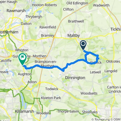 Route from Gipsy Lane, Roche Abbey, Maltby, Rotherham