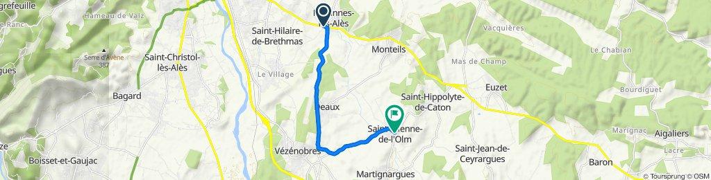 De Les Voutins, Méjannes-lès-Alès à Place du Rempart 6, Saint-Étienne-de-l'Olm