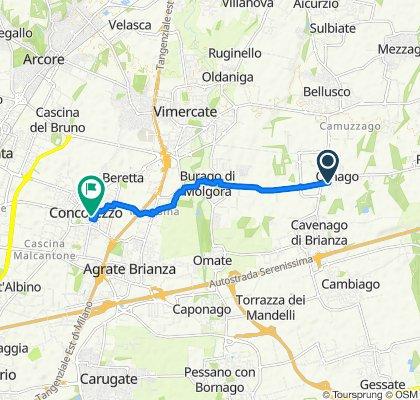 Da Via Roma 1, Ornago a Via C. Battisti 12B, Concorezzo