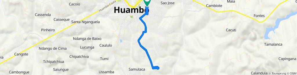 Route to Rua Padre Antonia Viera, Nova Lisboa