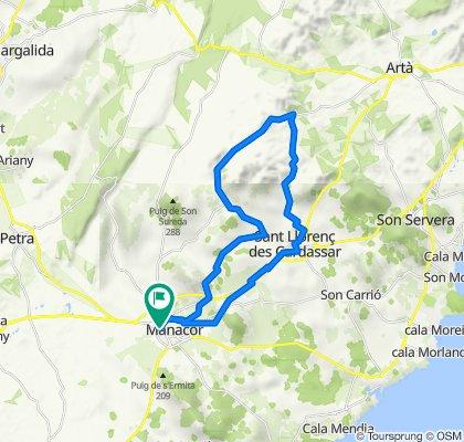 Mallorca: Manacor-Sant Llorenç-volta a Calicant-Manacor