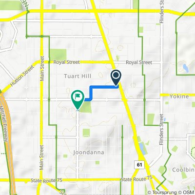Route from 125 Lawley Street, Tuart Hill