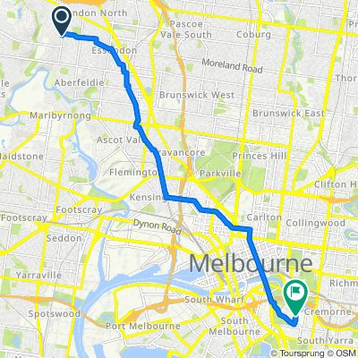 Route from 73B Hoffmans Road, Niddrie