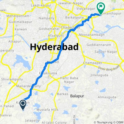 Unnamed Road, Hyderabad to TV Studio Ramanthapur, Hyderabad