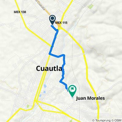 De Calle Josefa Ortiz de Domínguez 37, Cuautla a Avenida Progreso 7, Cuautla