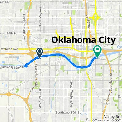 Route from 2901–2999 SW Eighth St, Oklahoma City