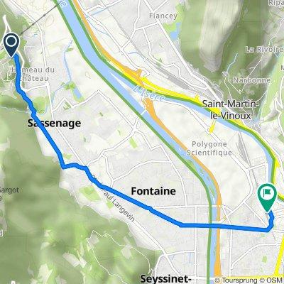 Rue des Chênes 100, Sassenage to Place de la Gare 1, Grenoble