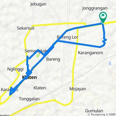 Jalan Klaten - Solo KM. 2, Kecamatan Klaten Utara to Jalan Perintis Kemerdekaan 19, Kecamatan Klaten Utara