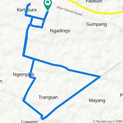 Jalan Tledung 17, Kecamatan Kartasura to Jalan Tledung 17, Kecamatan Kartasura