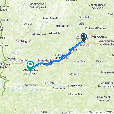 5 Route de Manzac, Montrem to 1 Rue Bugeaud, Villefranche-de-Lonchat