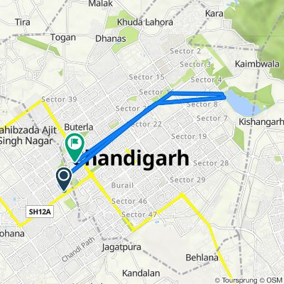 Route to Jan Marg, Chandigarh
