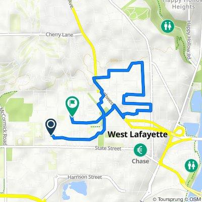 201 N Martin Jischke Dr, West Lafayette to 314 N Russell St, West Lafayette