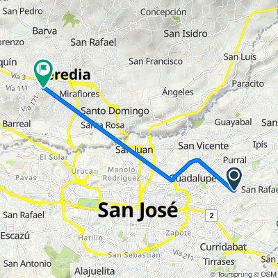 De Avenida 19A, Sabanilla a Heredia