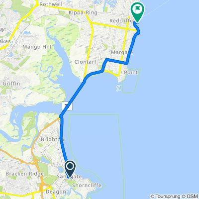 Route from 62–64 Loudon Street, Sandgate