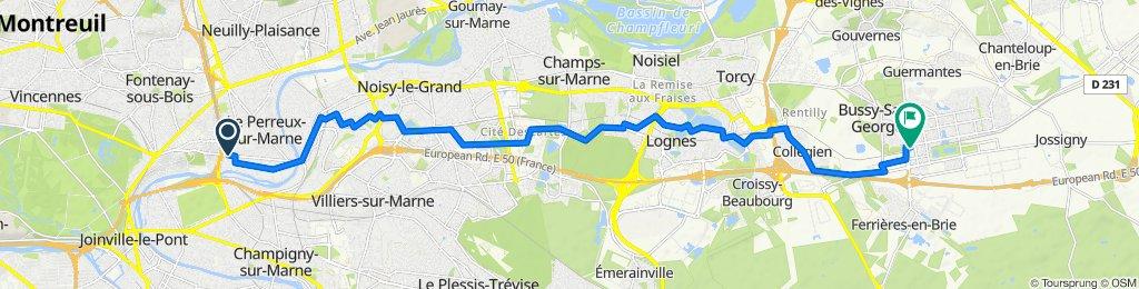 De Avenue de Bry 19, Le Perreux-sur-Marne à Rue Alain Peyrefitte 5, Bussy-Saint-Georges