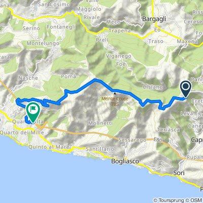 Da Strada Monte Fasce, Sori a Via delle Campanule 58, Genova
