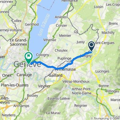 De 38 Route des Groulines, Juvigny à Rue Verdaine 12, Genève