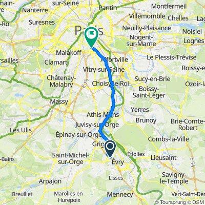 Route from Allée du Bois Dévé 10, Évry-Courcouronnes