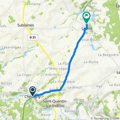 De Rue du Lavoir 20, Chédigny à Taille du Bourg 4, Luzillé