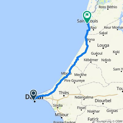 Allees Seydou Nourou Tall 4012, Dakar to Avenue Dodds 557, Saint-Louis