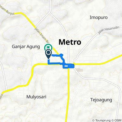 Jalan Maulana 16, Kecamatan Metro Pusat to Jalan Maulana 19, Kecamatan Metro Pusat