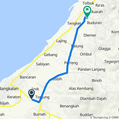 Route from Jalan Raya Tunjung, Bangkalan