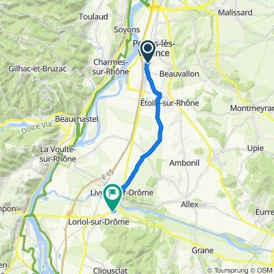 De Rue Claude Debussy 27, Portes-lès-Valence à Allée de la Serpentine 7, Loriol-sur-Drôme