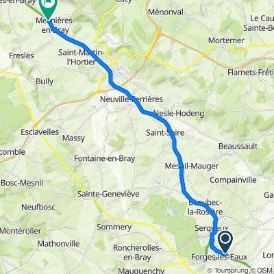 Rue du Mal Leclerc 57, Forges-les-Eaux to Chemin de la Fontaine aux Dames 17, Mesnières-en-Bray
