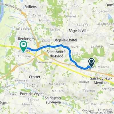De Les Feuilles, Saint-Cyr-sur-Menthon à 38 Impasse du Putet, Replonges