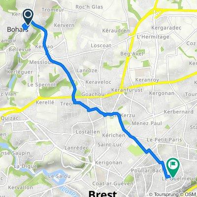 De Rue de Pen ar Guéar 11, Bohars à Rue Amiral d'Estrées 3, Brest
