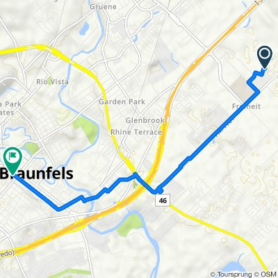 Route to 139 N Castell Ave, New Braunfels