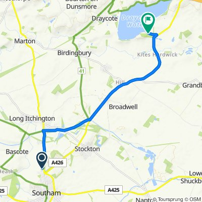 Route from Bp Londis, Coventry Road, Southam