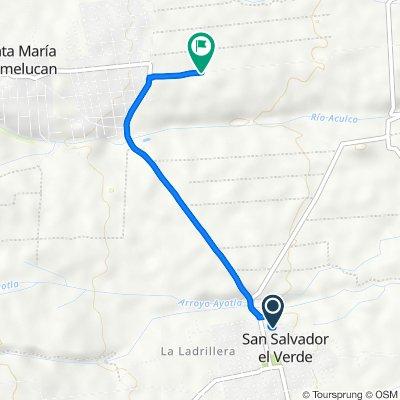 Ruta desde Calle Motolinia, San Salvador el Verde