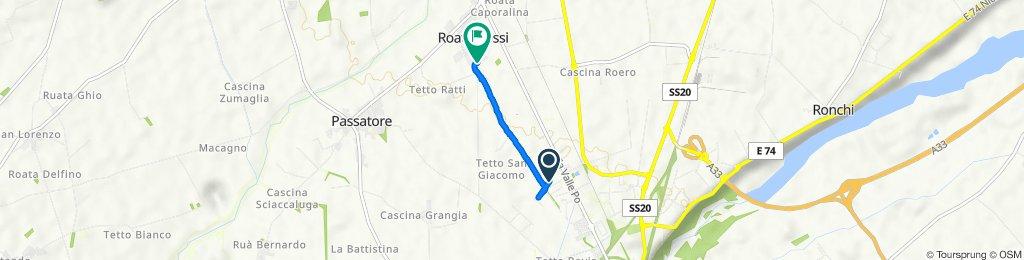 Da Via Ercole Negri di Sanfront 14, Cuneo a Via Antica di Busca 122a, Roata Rossi