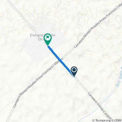 De Carretera Delicias - Congregación Ortíz - Orinda, Meoqui a Carretera Delicias - Congregación Ortíz - Orinda, Congregación Ortíz