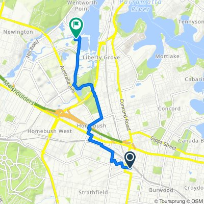 Strathfield train station to Sydney Olympic Park - Route 2 , less trafic