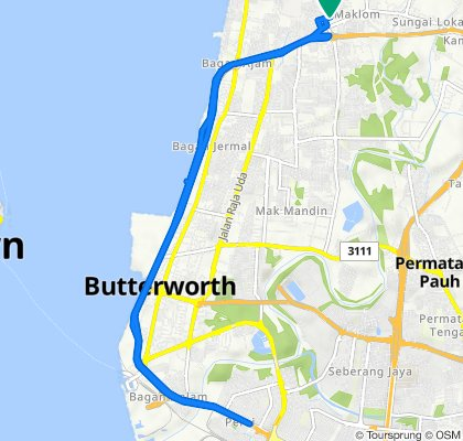 Butterworth to Jalan Cendana 592, Butterworth