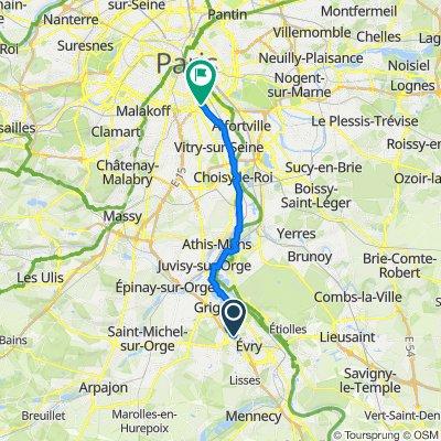 Route from Square du Bois du Diable 5, Évry-Courcouronnes