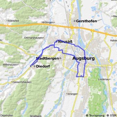 Diedorf-Augsburg Zentrum-Augsburg Messe-Diedorf