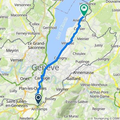 De Chemin des Côtes-de-Landecy 2, Bardonnex à Route de Chevrens 98, Anières