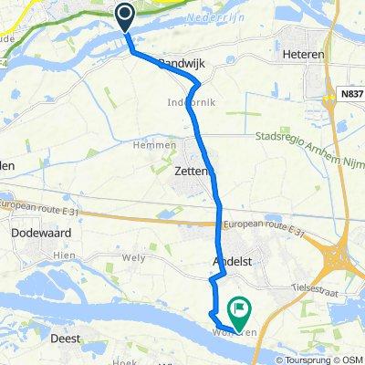Veerweg 2–4, Wageningen to Waaldijk 6–7, Andelst