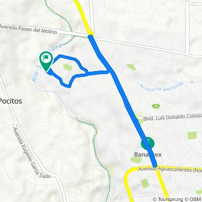 De Calle Invernadero 206, Aguascalientes a Avenida de las Huertas 402, Aguascalientes