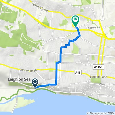 Belton Way W, Leigh-On-Sea to 37 Rayleigh Road, Leigh-On-Sea