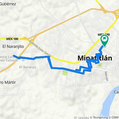 De Calle Bernal Diaz del Castillo 26, Minatitlán a Calle Adalberto Tejeda 6, Minatitlán
