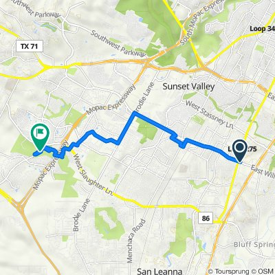 Route from 110 E William Cannon Dr, Austin