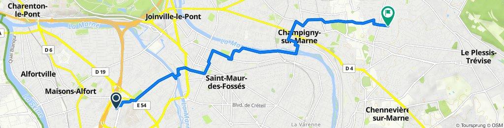De Rue Georges Enesco 5-7, Créteil à Rue de l'Indépendance 3, Champigny-sur-Marne