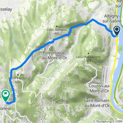 De 9 Avenue Henri Barbusse, Albigny-sur-Saône à 133 Route du Mont Verdun, Limonest