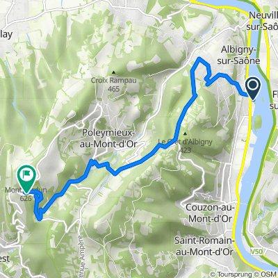 De 15 Avenue Henri Barbusse, Albigny-sur-Saône à Route du Mont Verdun, Poleymieux-au-Mont-d'Or